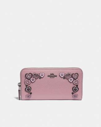 Coach Accordion Zip Wallet With Hearts
