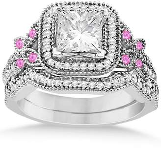 Palladium Allurez Pink Sapphire and Diamond Accented Square Halo Butterfly Bridal Set in 0.51ct