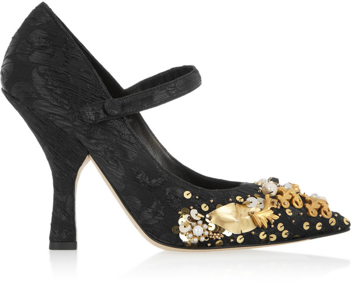 Dolce & Gabbana Embellished brocade Mary Jane pumps