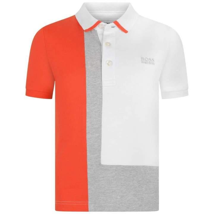 BOSS KidsBoys White & Orange Jersey Polo Top
