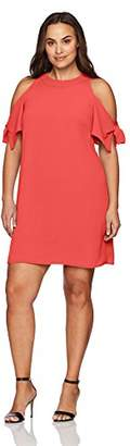 London Times Women's Plus Size Cold Shoulder Round Neck Crepe Shift Dress