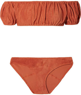 Lisa Marie Fernandez Leandra Off-the-shoulder Ruched Cotton-blend Terry Bikini - Orange