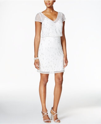 Adrianna Papell Embellished Mesh Blouson Dress $259 thestylecure.com