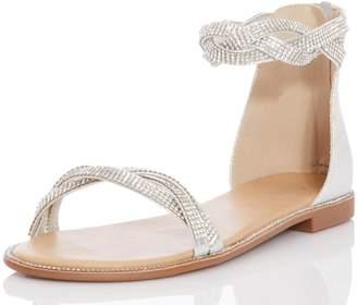 c37cfbe42576a Dorothy Perkins Womens  Quiz Silver Diamante Twist Flat Sandals