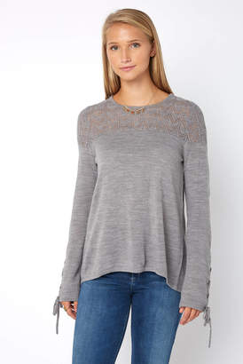 Neely Lace Up Pointelle Pullover