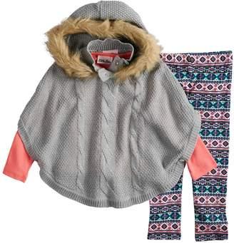Little Lass Toddler Girl Hooded Poncho, Tee & Printed Leggings Set