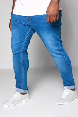 boohoo Big And Tall Blue Skinny Fit Washed Jeans