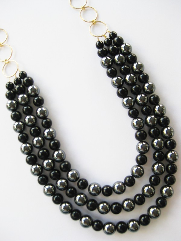 K. Amato Triple Strand Bead Necklace