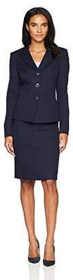 Le Suit Women's Jacquard 3 Button Collarless Skirt