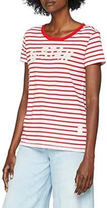 G Star G-Star Women's 17 R T Wmn S/S T - Shirt (White/Sartho Blue Stripe 8260)