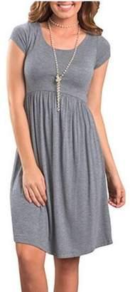 Lovaru Short Sleeve Solid Color Women Casual Simple Dress