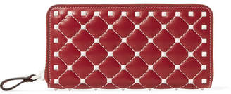 Valentino Garavani The Rockstud Spike Quilted Leather Wallet - Red