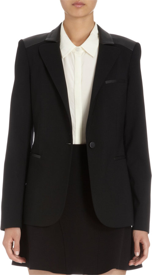 Barneys New York Leather Trimmed One-Button Blazer