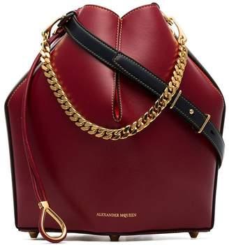 Alexander McQueen Red Leather Bucket Bag