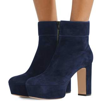 2f3d760d1adfe YDN Women Chic Almond Toe Platform Dress Booties Chunky High Heels Faux  Suede Ankle Boots with Zips 12