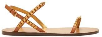 Valentino Rockstud Flat Leather Sandals - Womens - Tan