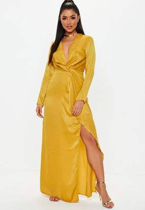 Missguided Mustard Wrap Front Maxi Dress
