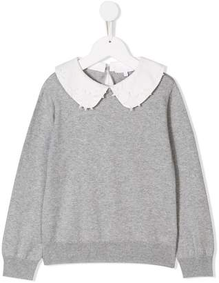 Chloé Kids embroidered collar knitted sweater