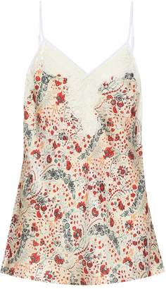 Paco Rabanne Lace-trimmed floral satin camisole