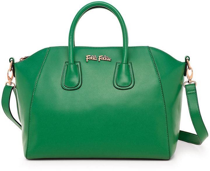 Folli Follie K Vintage Large Green Satchel Handbag