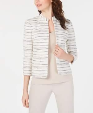 Anne Klein Collarless Printed Jacket