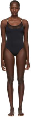 Versace Underwear Black Mesh One-Piece Swimsuit