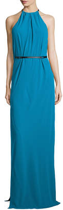 Halston Halter-Neck Belted Evening Gown, Turquoise