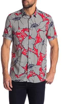 Ted Baker Short Sleeve Floral Print Trim Fit Shirt