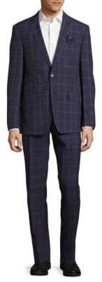 Classic Fit Windowpane Wool-Blend Suit