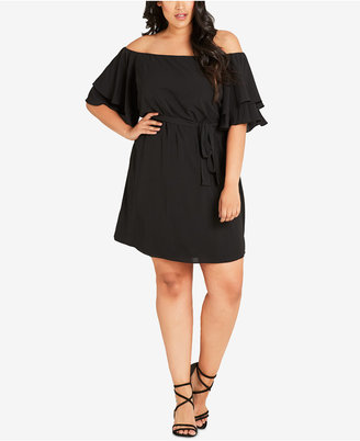 City Chic Trendy Plus Size Off-The-Shoulder Belted Dress $79 thestylecure.com