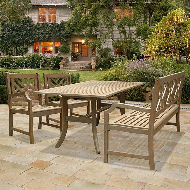 Vifah Renaissance Rectangular Table with Bench and Armchair Outdoor Hardwood Dining Set