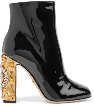 Dolce & Gabbana - Embellished Patent-leather Ankle Boots - Black $1,745 thestylecure.com