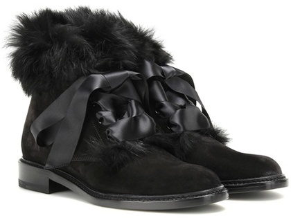 Saint LaurentSaint Laurent Army 20 Rabbit Fur-trimmed Suede Ankle Boots