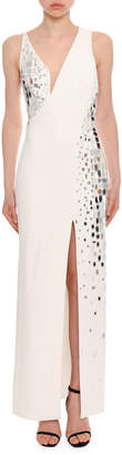 Versace Embellished Silk Cady Column Evening Gown w/ Mesh Inserts