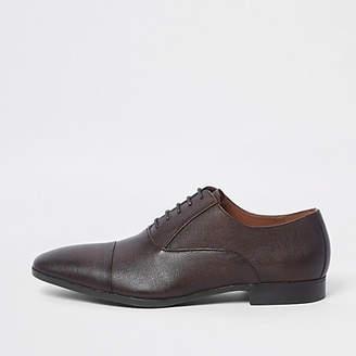 River Island Mens Brown embossed toecap Oxford shoes