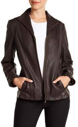 Cole Haan Zip-Up Lamb Leather Jacket