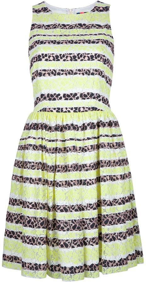 MSGM contrast lace print dress