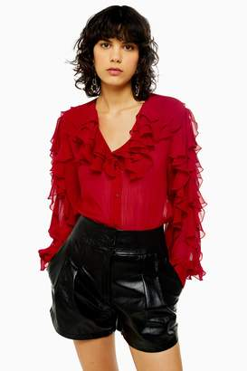 Topshop Womens Idol Ruffle Long Sleeve Blouse - Red