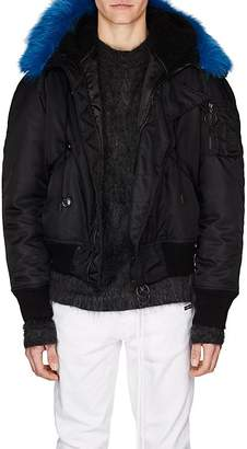 Off-White Men's Faux-Shearling-Hood Bomber Jacket