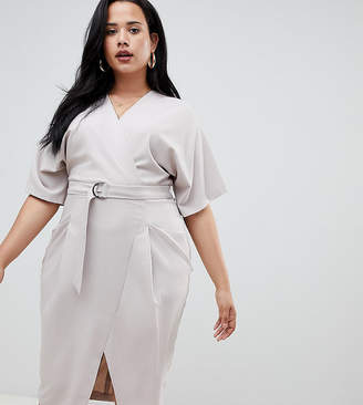 Asos DESIGN Curve wrap skirt midi dress with d ring belt
