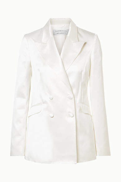 Gabriela Hearst - Angela Double-breasted Cotton And Silk-blend Satin Blazer - Ivory