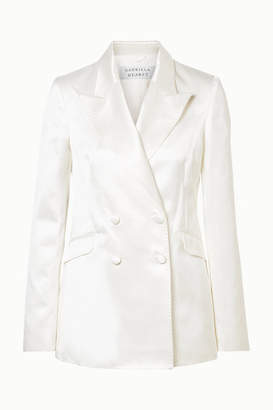 Gabriela Hearst Angela Double-breasted Cotton And Silk-blend Satin Blazer - Ivory