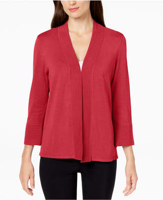 JM Collection Petite Flare-Sleeve Open-Front Cardigan