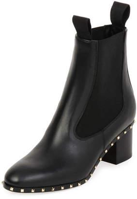 Valentino Soul Stud Leather Chelsea Boots, Black (Nero)