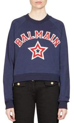 Balmain Baseball Logo Cotton Sweatshirt