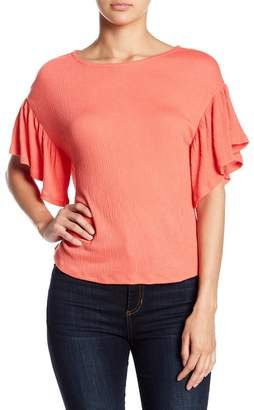 Ten Sixty Sherman Ruffle Sleeve Textured Tee