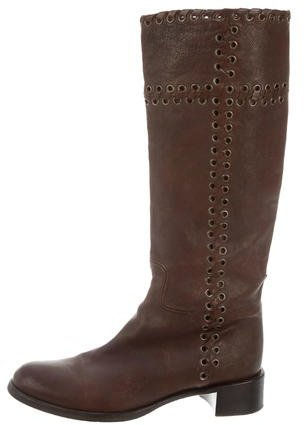 pradaPrada Grommet-Embellished Knee-High Boots
