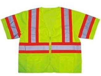 Cordovan Cordova SPV32012XL Class 3 Cor-Brite Short Sleeve Safety Vest, Lime - 2XL