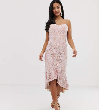 Jarlo Petite all over lace bandeau midi dress in pink