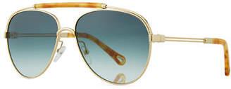 Chloé Jackie Aviator Sunglasses w/ Ornamental Brow Bar
